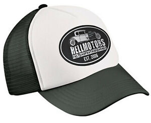 Hellmotors Fast Shop Trucker Cap Hotrod V8 US Car Oldschool Baseball Kappe Mütze