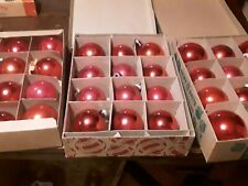 Shiny brite & other vintage ornaments reds glass (3 boxes = 36) 2 sizes