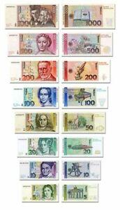 DM Geldscheine, Deutschland 1991 TOP Reproduktion 5-1000