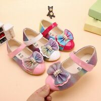 Children Kids Baby Girl Shoes Pearl Bowknot Bling Single Princess Casual Shoes T