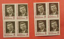 2 IMPERF PROOF DIFF COLOR PORTRAITS 1964 ARGENTINA JFK #760 BLOCKS MH