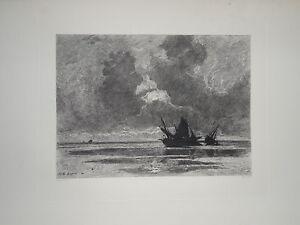 EAU FORTE JULES DUPRE LEFORT PAYSAGE SOIR BATEAU MARINE MER PAYSAGISTE 1895
