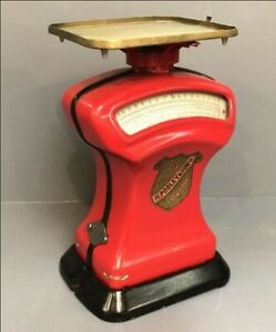 Vintage Retro Red Post Office Levelling Scales Prop Decor Kitchen Scales