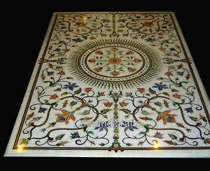 24 x 48 Inches Marble Center Table Top Floral Art Coffee Table with Gemstones