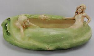 Rare Antique Amphora Type Pottery Art Nouveau Mermaid Centerpiece
