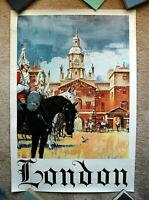 Vintage Original 1965 ENGLAND Travel Poster airline railway train art tourism