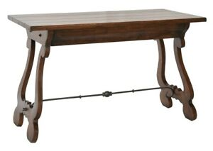 "48"" L Desk Solid Walnut with Lyre Legs Gunmetal Iron Stretcher Single Drawer"