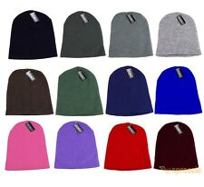 Plain Beanie Skull Cap Skully Knitted Hat Colors Warm Winter Ski Snow Headwear