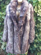 Vintage Genuino Real Plata PLATIGNUM Abrigo de piel de zorro UK 14