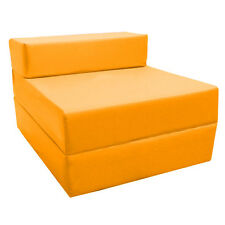 Yellow Budget Fold Out Z Bed Futon Kids Sleepover Guest Chair Sofabed Mattress