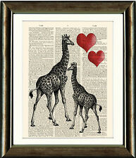Old Book page Art Print - Beautiful Vintage Giraffe Dictionary page Wall Art