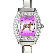 Wheaten Terrier CZ Womens Stainless Steel Italian Charms Wrist Watch BJ1019