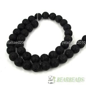 """Natural Volcanic Lava Gemstone Round Ball Spacer Beads 8mm 10mm 12mm Pick 16"""""""