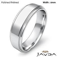 Wedding Band Women Plain Flat Step Solid Ring 6mm 18k White Gold 7gm Sz 6 - 6.75