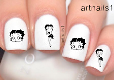 Betty Boop Cartoon Nail Silhouette Art Water Decal Sticker Manicure Salon Polish
