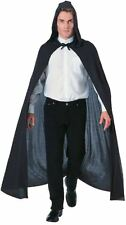 Adult Mens Black Hooded Cape Costume One Size Vampire Dracula Halloween New