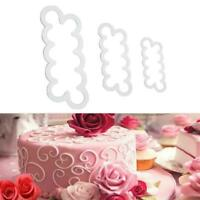 3pcs 3D Rose Flower Cutter Mold Sugarcraft Fondant Baking Cake Tools Decora K7V1