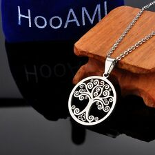 SP Stainless Steel Round Tree of Life Pendant Fashion Jewelry With Shiny Crystal