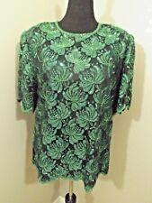 Vintage LAURENCE KAZAR Black/Green Lined Beaded Top Sz 2X