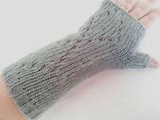Paire de gants long mitaines laine crochet gris hiver femme fille moufles