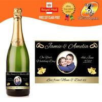 PERSONALISED WEDDING PHOTO CHAMPAGNE PROSECCO BOTTLE LABEL