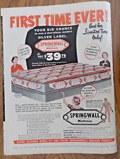 1955 Springwall Mattress Ad  Silver Label