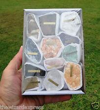 Box Set of 12 Assorted Minerals Rocks (new age) new