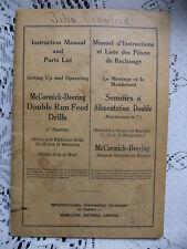McCormick Deering Double Run Feed Drill Owners Operators Manual 1943