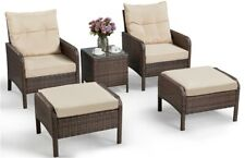 5pcs Patio Wicker Furniture Set, Outdoor Conversation Set Cushioned Sofa, Brown