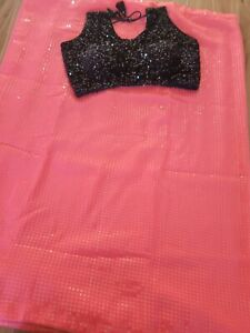 pink sequins saree with stitched sequins blouse size 32-38 sequence saree