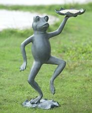 "Dancing Frog With Lily Pad Bird Feeder Garden Yard Statue Sculpture Metal 20""H"