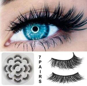 UK 7 Pair 5D Mink False Eyelashes Wispy Cross Long Thick Soft Fake Eye Lashes