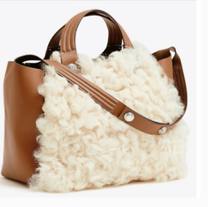 Tory Burch NEW Rory Shearling Natural Leather Handle Strap Toggle Tote $698 Auth