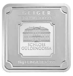 1 kg Geiger Original square .999 fine silver bar 1.000 grams 1 kilo