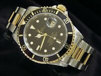 Rolex Submariner Date 18k Yellow Gold Stainless Steel Watch Mens Black Sub 16613