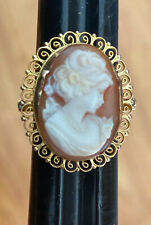 Shell Ring Size 7 14K Yellow Gold Cameo