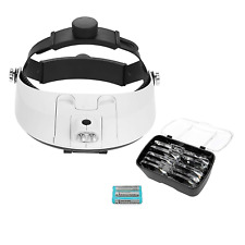 Headband Magnifier - Head Mounted Magnifying Glass with LED Light, 5 Lens 1.0X,