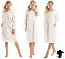 Mujer polialgodón manga larga floreado ropa dormir camisón en tres colores