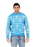 Adult Light Blue Holiday Hanukkah Symbols Pattern Ugly Christmas Sweater
