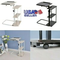 Mobile End Table Height Adjustable Bedside Table Laptop Rolling Cart w/ Shelves
