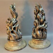 "Gorgeous ITALIAN ART DECO Carved Silver Gilt ""Flame"" Lamp Bases c. 1930 antique"