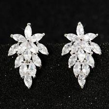 Fashion 925 Silver Ear Needle Leaves zircon For Women Jewelry Gem Stud Earrings