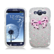 Samsung Galaxy S 3 III Crystal Diamond 3D BLING Hard Case Cover Silver Pink Bow