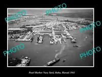 OLD LARGE HISTORIC PHOTO PEARL HARBOR HAWAII AERIAL VIEW OF NAVY YARD c1941