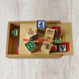 Vintage Wooden Alphabet Letter Number Picture Building Blocks Educational Toy