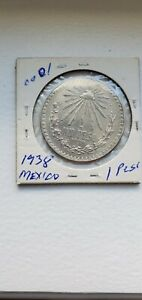 1938 MEXICO 1 PESO SILVER COIN