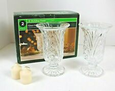 """Vtg Holiday Time Glass Hurricane Candleholders Pressed Glass Pedestal 7"""" Pair"""