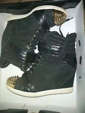 Boutique 9 Nevan Wedge  Sneakers Hi Cut Out Lace Up color BLACK AND GOLD SZ W8.5