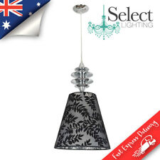 NERO, Polished Chrome Pendant Light, Black Silver Fern Type Shade, ON SALE!