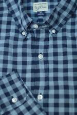 J Crew Men's Cadet & Navy Blue Check Cotton Casual Shirt XL XLarge